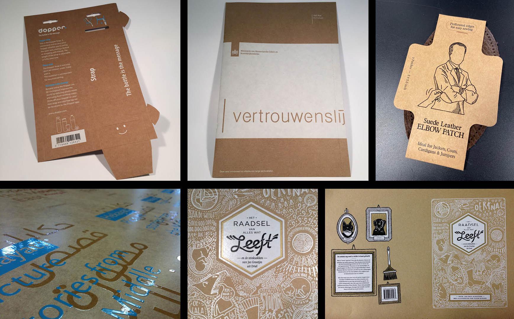 verpakkingen en labels gedrukt op kraftkarton