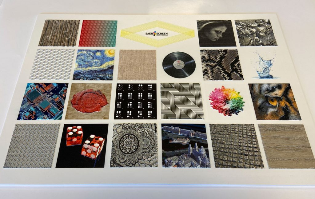 Afbeelding met diverse mogelijkheden van Saen Screen in Elevated Printing