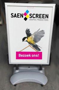 Posters tbv stoepborden geprint door Saen Screen