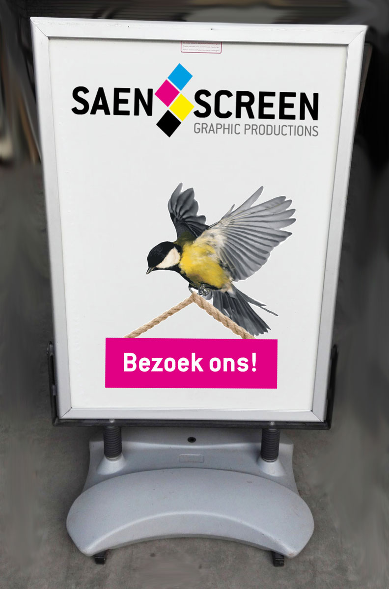 Posters tbv stoepborden geprint door Saen Screen